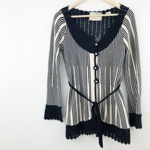 Anthro Sparrow Striped Button-Down Cardigan